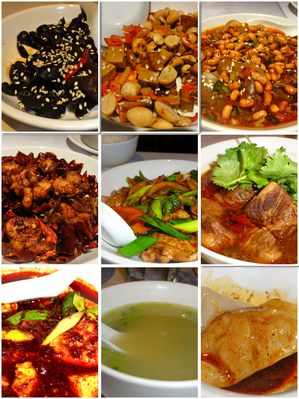 Spicy fungus . Peanuts & dried beancurd . Spicy & sour glass noodles . Spicy deep fried chicken . Sliced pork loin in sichuan style . Stewed beef brisket in spicy gravy . Braised beancurd with minced beef in hot chilli sauce . Vegetable soup . Sichuan dumplings
