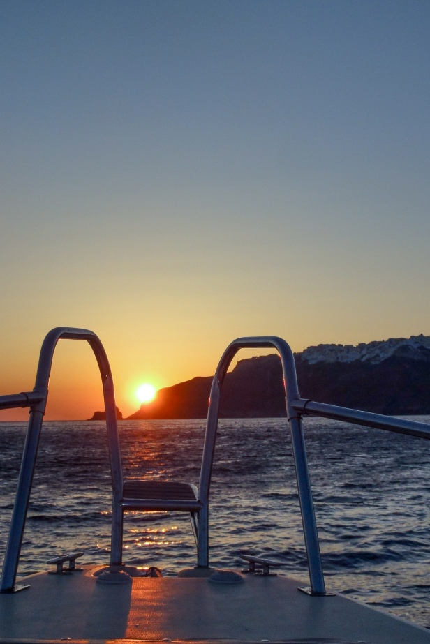 Santorini sunset from the sea