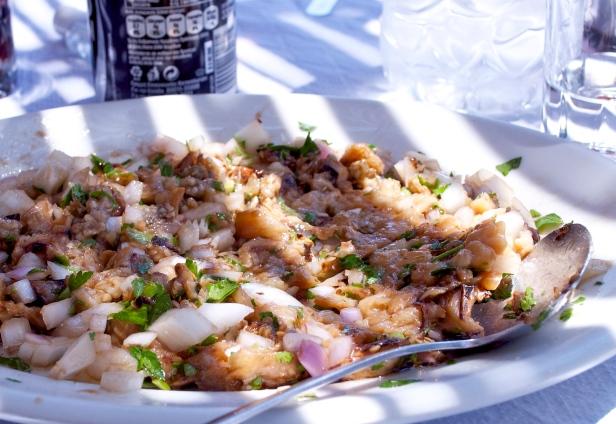 Grilled Whote Aubergine Salad at Kallisti Tavern