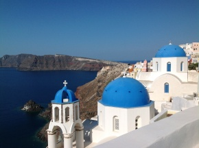 View from MyBlue in Oia Santorini