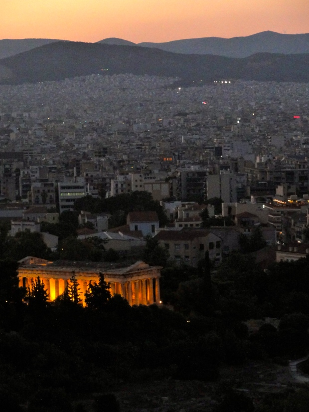 Sunset from Areoplagas (Mars Hill). The Temple of Hephaistos is in foreground
