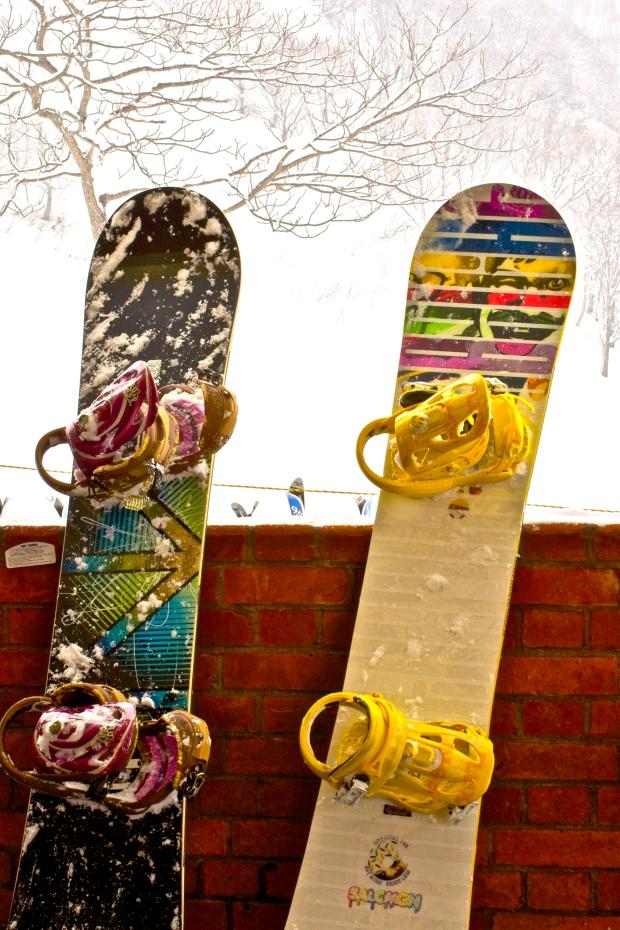 Colourful snowboards in snowy Niseko