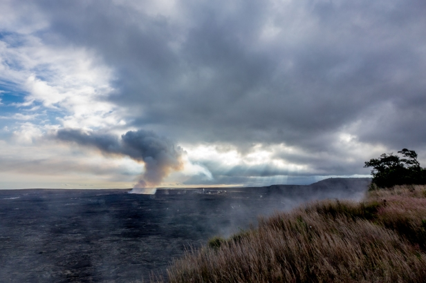 Sunset at Halemaumau Crater in Hawaii Volcanoes National Park