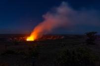 Glow of Halemaumau Crater at night