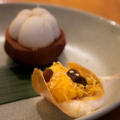 Sweet Thai wafers with persimmons and egg noodles Nahm Bangkok