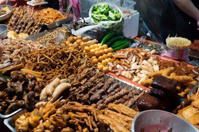 Raohe Street Night Market - various meats and body parts